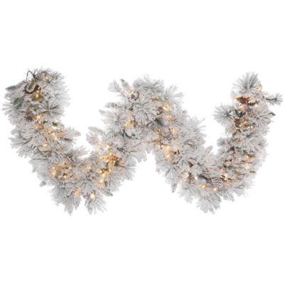 Vickerman 9' Flocked Alberta Christmas Garland with 150 Clear Lights