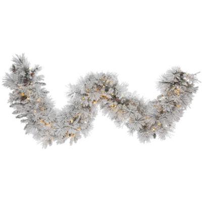 Vickerman 9' Flocked Alberta Christmas Garland with 150 Warm White LED Lights