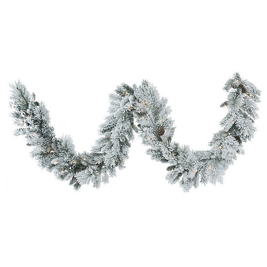 Vickerman 9' Flocked Ashton Pine Christmas Garlandwith 50 Warm White LED Lights