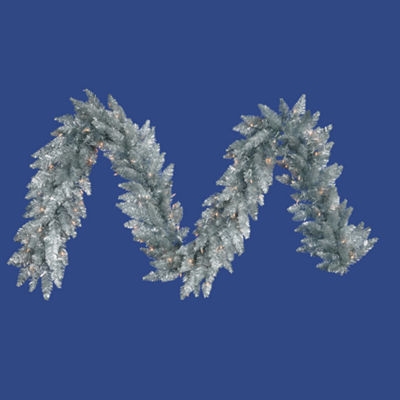 Vickerman 9' Silver Christmas Garland with 100 Clear Lights