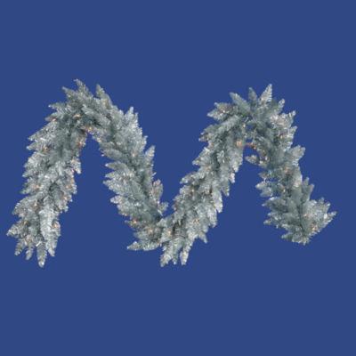 Vickerman 9' Sliver Christmas Garland with 100 Warm White LED Lights