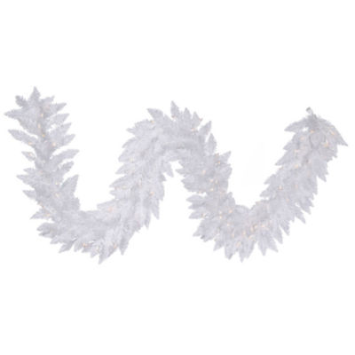Vickerman 9' Sparkle White Spruce Christmas Garland with 100 Warm White LED Lights