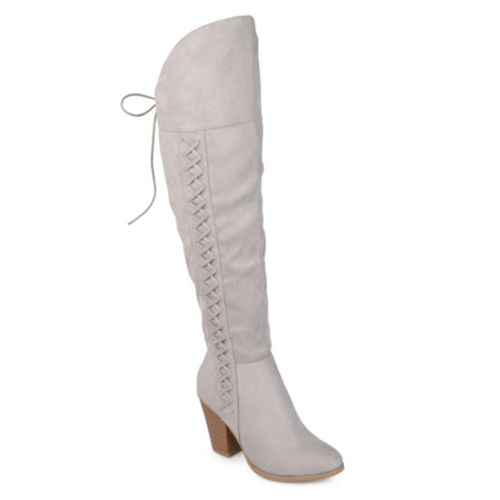 Journee Collection Womens Spritz Dress Boots Block Heel Zip