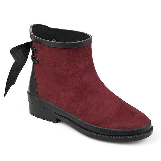 Journee Collection Womens Burke Rain Boots Weatherproof Block Heel Pull On