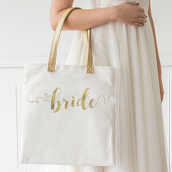 Cathy's Concepts Gold Foil Bride Canvas Tote