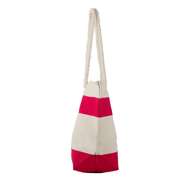 Cathy's Concepts Whale Red Striped Canvas Tote with Rope Handles