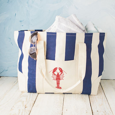 Cathy's Concepts Lobster Navy Striped Canvas Tote Bag