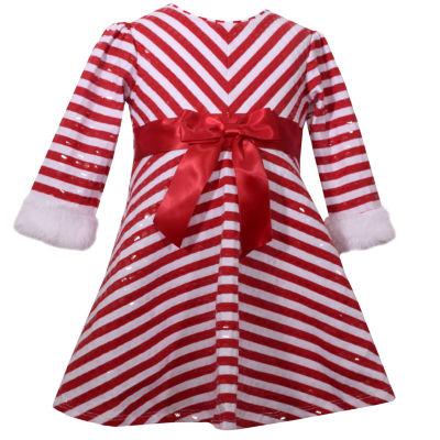 Bonnie Jean Long Sleeve Candy Cane Santa Stripe Dress - Baby Girls