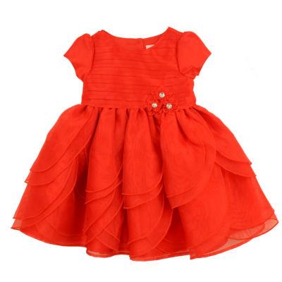 Nanette Baby Short Sleeve Red Petal Dress - Baby Girls