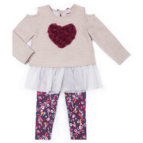 8f2800ea759a Little Lass 2-pc.Long Sleeve Cold Shoulder Sweater Legging Set-Baby ...