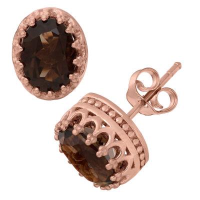 Genuine Brown Quartz 14K Gold Over Silver 10mm Stud Earrings