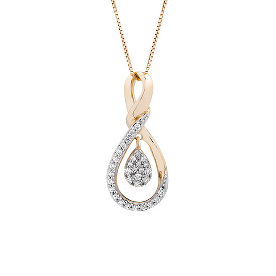 Womens 1/6 CT. T.W. Genuine White Diamond 10K Gold Pendant Necklace