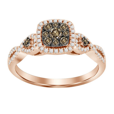 Womens 1/2 CT. T.W. Genuine Champagne Diamond 14K Gold 3-Stone Ring