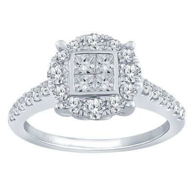 Womens 1 CT. T.W. Genuine White Diamond 10K Gold Halo Engagement Ring