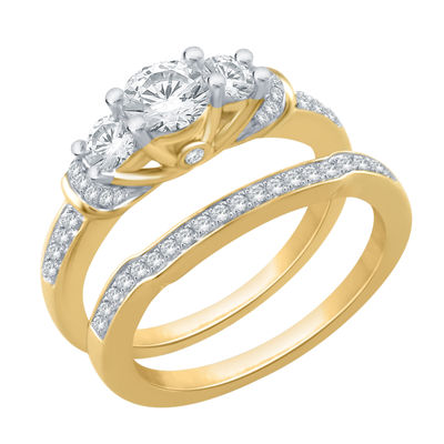 Womens 1 CT. T.W. Genuine White Diamond 10K Gold 3-Stone Bridal Set
