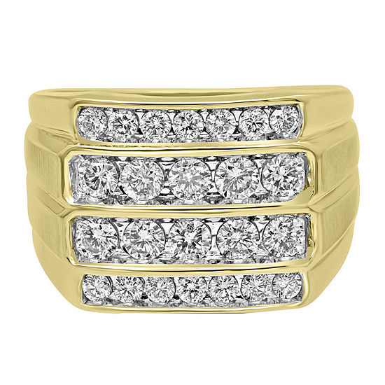 Mens 1 1/4 CT. T.W. Genuine White Diamond 10K Gold Fashion Ring