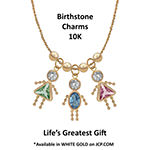 10K Gold April Birthstone Babies Girl Charm