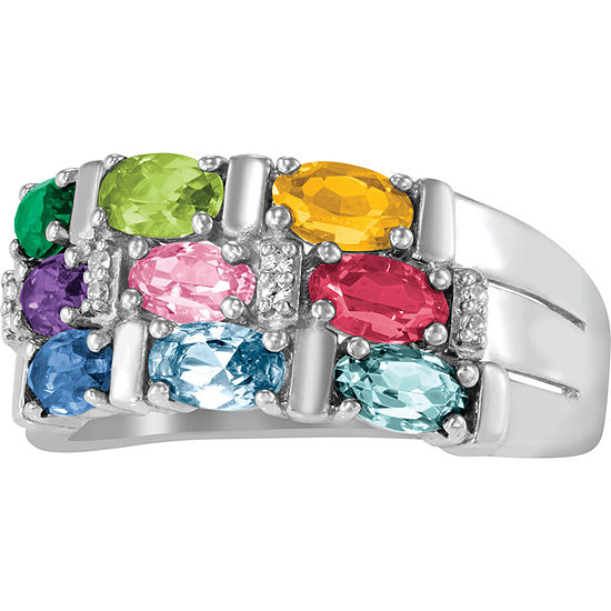 Artcarved Celebrations Of Life 9M Simulated Multi Color Stone 10K Gold Band