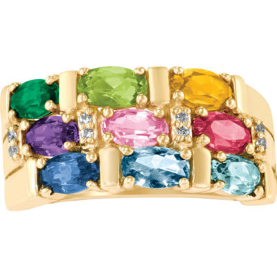 Artcarved Celebrations Of Life Womens Multi Color Stone 10K Gold Band