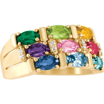 Artcarved Celebrations Of Life Womens 9M Simulated Multi Color Stone 10K Gold Band