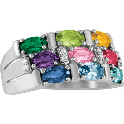 Artcarved Celebrations Of Life Womens 9M Genuine Multi Color Stone Sterling Silver Band