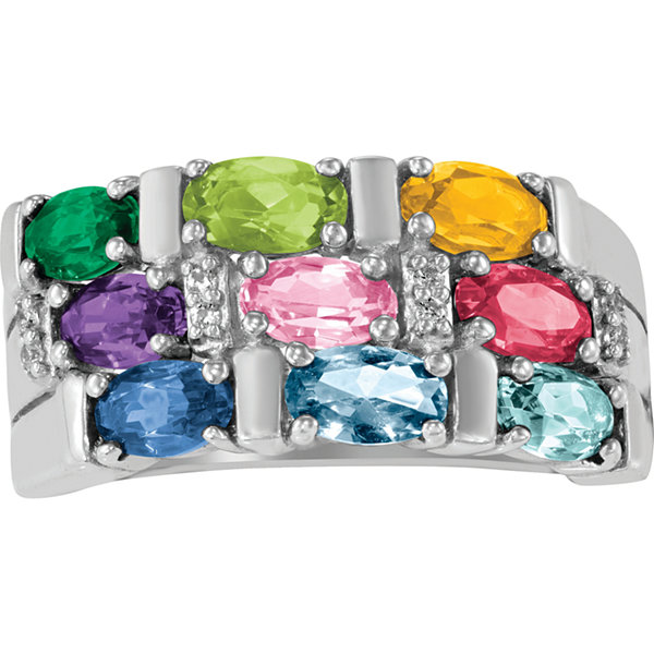 Artcarved Celebrations Of Life Womens Genuine Multi Color Stone 10K Gold Band