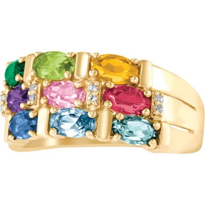 Artcarved Celebrations Of Life Womens 9M Genuine Multi Color Stone 14K Gold Band