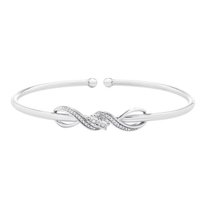 1/10 CT. T.W. Genuine White Diamond Sterling Silver Infinity Bangle Bracelet