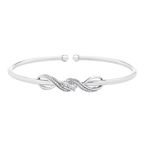 1/10 CT. T.W. Genuine White Diamond Sterling Silver Infinity Bangle Bracelet