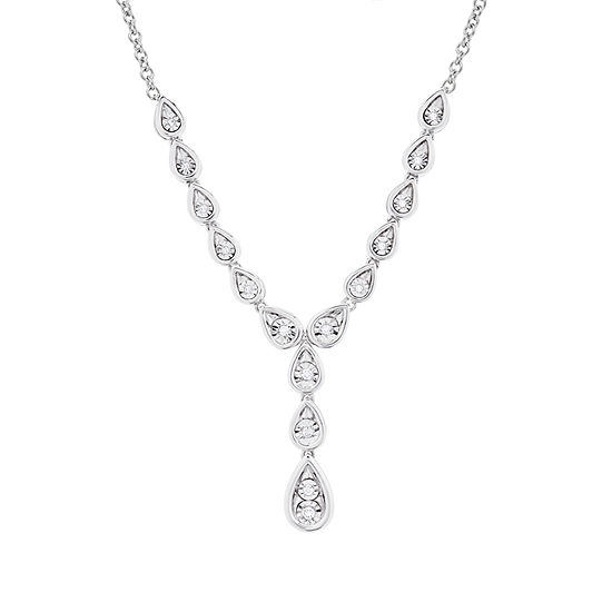 Womens 1/10 CT. T.W. Genuine White Diamond Y Necklace