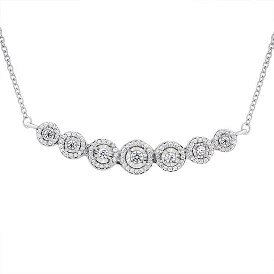 Womens 1/3 CT. T.W. Genuine White Diamond Sterling Silver Statement Necklace