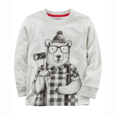 Carter's Long Sleeve Round Neck T-Shirt-Preschool Boys