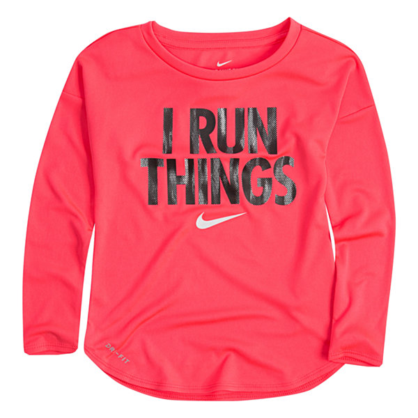 Nike Long Sleeve Crew Neck T-Shirt-Preschool Girls