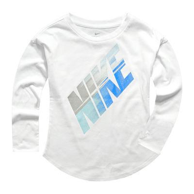 Nike Long Sleeve Round Neck T-Shirt-Preschool Girls