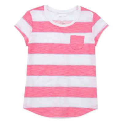 Arizona Short Sleeve Stripe/Print Fave Tee - Girls' 4-16 & Plus