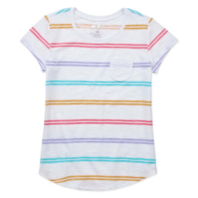 Arizona Short Sleeve Stripe/Print Fave Tee - Girls' 4-16 & Plus
