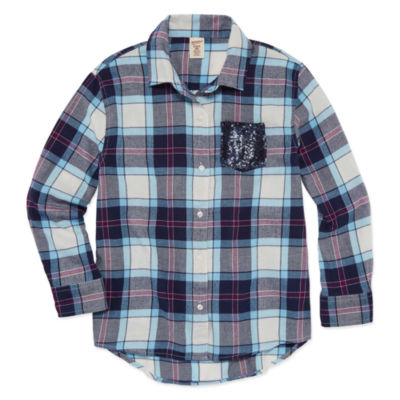 Arizona Long Sleeve Sequin Pocket Flannel Shirt – Girls' 7-16 and Plus