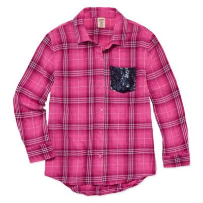 Arizona Long Sleeve Sequin Pocket Flannel Shirt – Girls' 7-16 and Plus