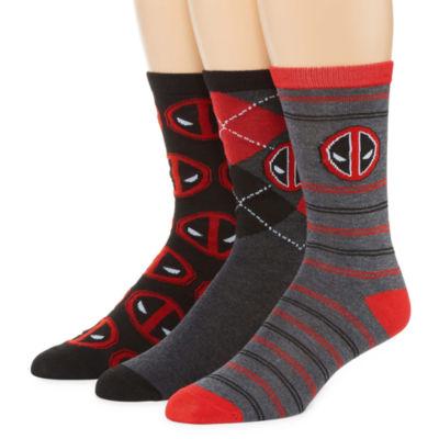 3 Pair Deadpool Crew Socks-Mens