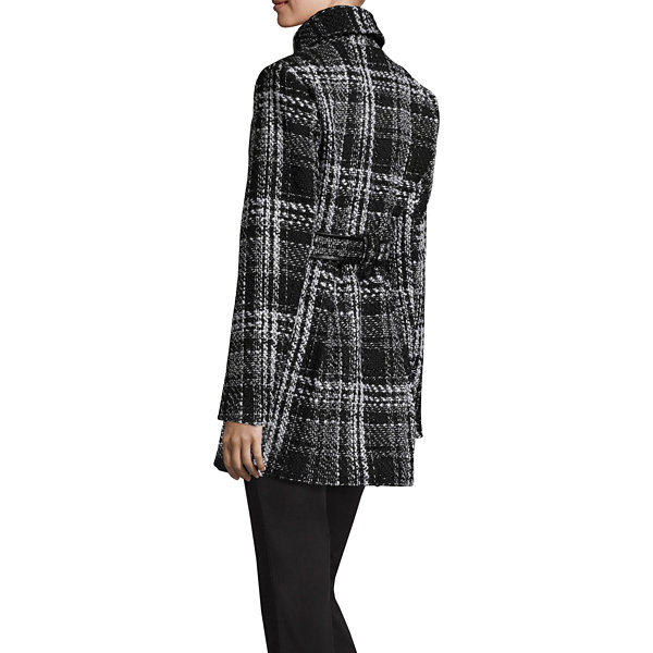 by&by Button Front Plaid Coat-Juniors