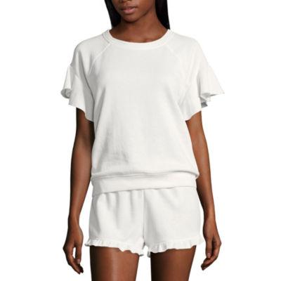 Flirtitude Ruffle Short Sleeve Sweatshirt-Juniors