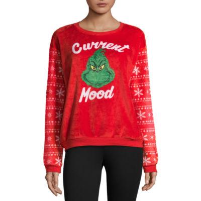 Fuzzy Grinch Ugly Christmas Sweatshirt-Juniors