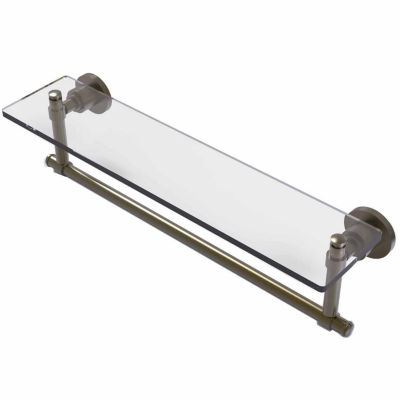 Allied Brass Washington Square Collection 22 IN  Glass Vanity Shelf  With Integrated Towel Bar