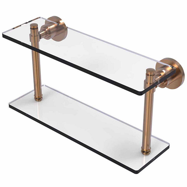 Allied Brass Washing Square Collection 16 IN Two Tiered Glass Shelf