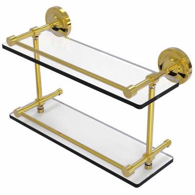 Allied Brass Prestige Regal 16 IN Double Glass Shelf With Gallery Rail