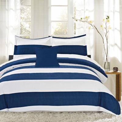 4PC Nautical Stripe Reversible Down Alternative Comforter Set