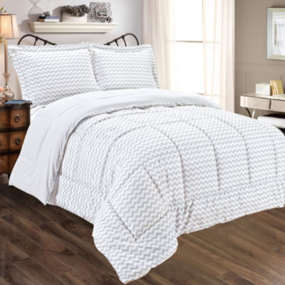 Chevron Print to Solid Reversible 3 Piece Comforter and Sham Set