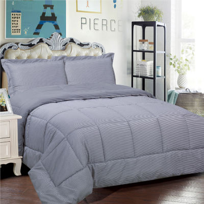 Loft Collection 3 Piece Pinstripe Reversible Down Alternative Comforter Set
