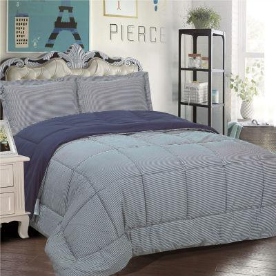 Loft Collection 3 Piece Striped Reversible Down Alternative Comforter Set