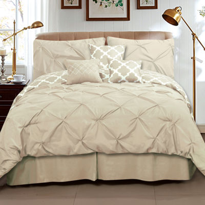 Taylor Pinch Pleat Solid To Reversible Lattice Print 7 Piece Comforter Set